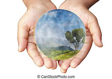 środowiskowy, pojęcie, earth., protection., siła robocza