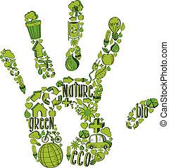 środowiskowy, ręka, zielony, ikony