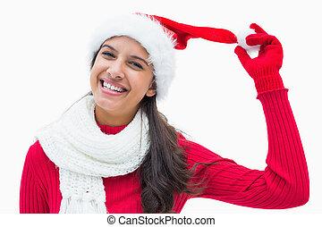 świąteczny, piękny, uśmiechanie się, aparat fotograficzny, kobieta