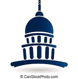 świątynia, gmach, kapitol, logo, ikona