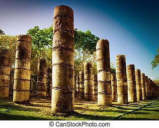 świątynia, wojownicy, kolumny, tysiąc, chichen itza