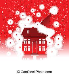 święto, dom, boże narodzenie, zima