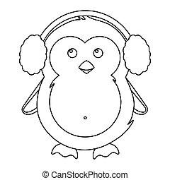 święto, ilustracja, boże narodzenie, zima, prosty, pingwin, sprytny