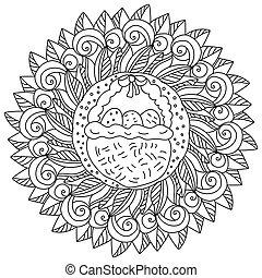 święto, liście, jaja, środek, strona, zwija, kosz, kolorowanie, mandala, wielkanoc, ozdobny