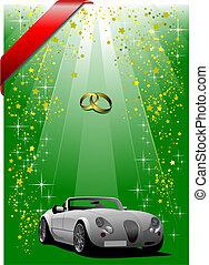 święto, osłona, zielone tło, ślub, broszura, albo