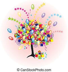 święto, partia, baloons, wypadek, rysunek, drzewo, szczęśliwy, giftes, kabiny