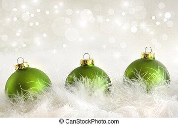 święto, piłki, zielony, boże narodzenie, tło