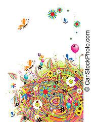 święto, zabawny, balony, karta, szczęśliwy