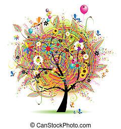 święto, zabawny, szczęśliwy, drzewo, baloons