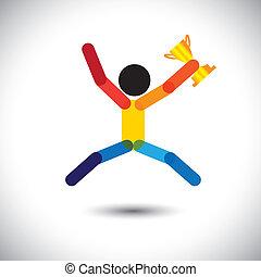 świętując, barwny, ikona, osoba, wektor, winning.