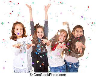 świętując, dzieci, partia