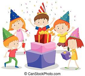 świętując, grupa, dzieci