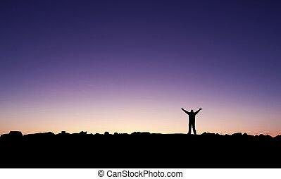 świętując, jego, osiągnięcie, człowiek