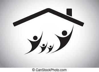 świętując, szczęśliwa rodzina, dom