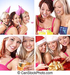 świętując, urodziny, szczęśliwi kobiety