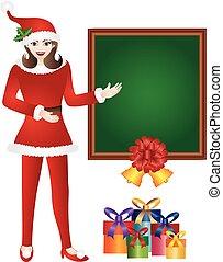 święty, dziewczyna, chalkboard, ilustracja