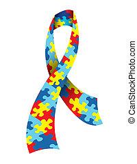 świadomość, autism, wstążka