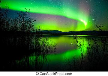 światła, północny, jezioro, odbity