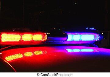 światła, policja, noc