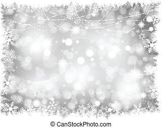 światła, srebro, tło, boże narodzenie