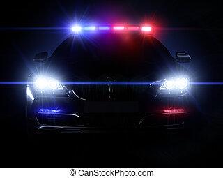 światła, szyk, pełny, policyjny wóz