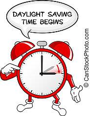 światło dzienne, czas, alarm, zbawczy, zmiana, zegar