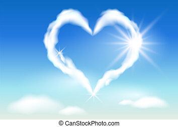 światło słoneczne, chmura, serce