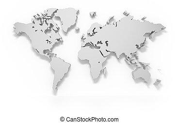 świat, 3d, mapa