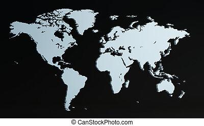 świat, 3d, render, mapa