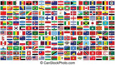 świat, alfabetyczny, bandery
