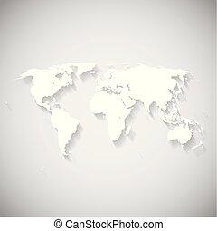 świat, biały, wektor, mapa, ilustracja