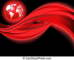 świat, czerwony, handlowy, mapa