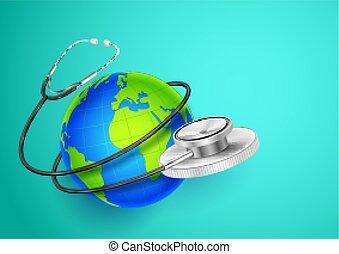 świat, dookoła, pokaz, medyczny, tło, ziemia, zdrowie, dzień, stetoskop