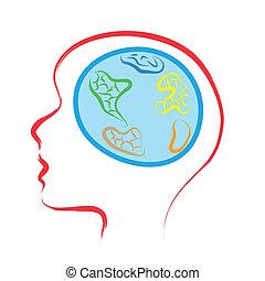 świat, głowa, mózg