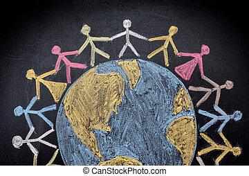 świat, grupa, dookoła, ludzie