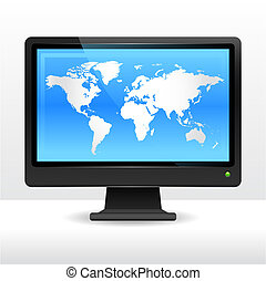 świat, hydromonitor komputera, mapa