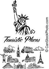 świat, ilustracja, miejsca, turystyczny