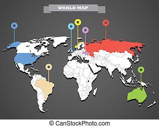 świat, infographic, szablon, mapa