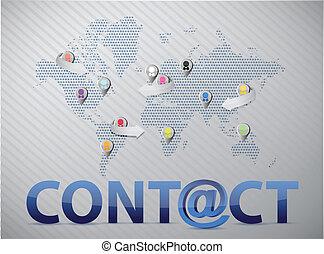 świat, kontakt, sieć, na, towarzyski