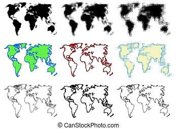 świat, kropkowany, mapy