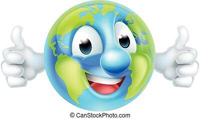 świat, litera, kciuki, ziemia, rysunek, dzień, kula, do góry