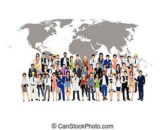 świat, ludzie, grupa, mapa