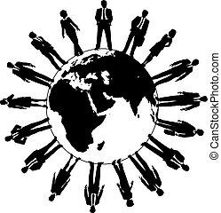 świat, ludzie, workforce, handlowy zaprzęg