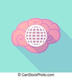 świat, mózg, długi, kula, cień