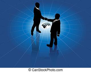 świat, mężczyźni, uzgodnienie, handlowy, globalny, porozumienie