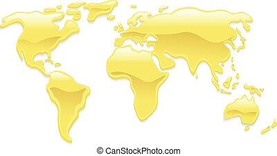 świat, płyn złoty, mapa