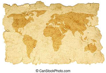 świat, papier, stary, mapa