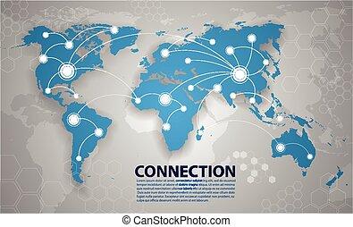 świat, połączenie, wektor, mapa