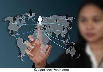świat, pojęcie, sieć, towarzyski