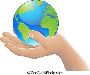 świat, pojęcie, twój, ręka